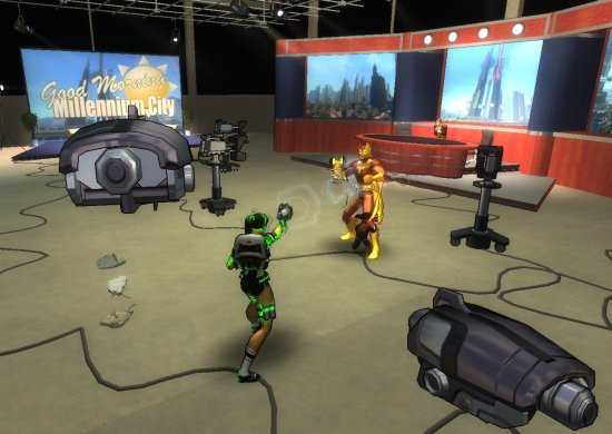 Fighting Foxbat in a TV studio.