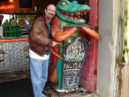 Posing with the endangered crawdaddigator.