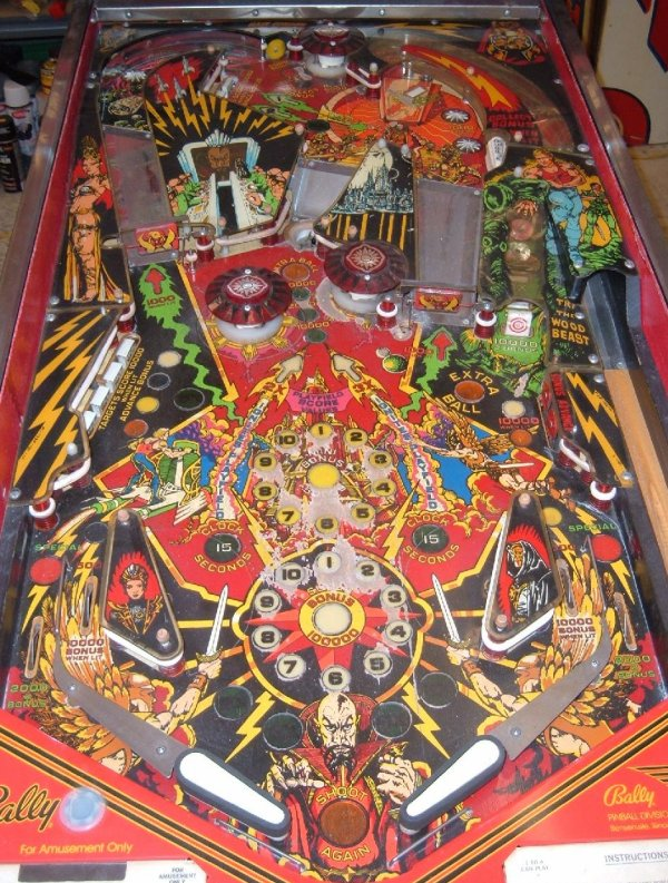 "Playfield of ""Flash Gordon"" pinball machine by Bally."