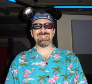 "Rocking my R2-D2 mouse ears, sporting some 3-D ""flight goggles"" and generally looking like the hugest dork in Dorkville."